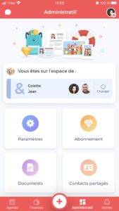 membres famille application coot