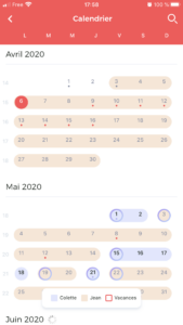 calendrier vue mois coot